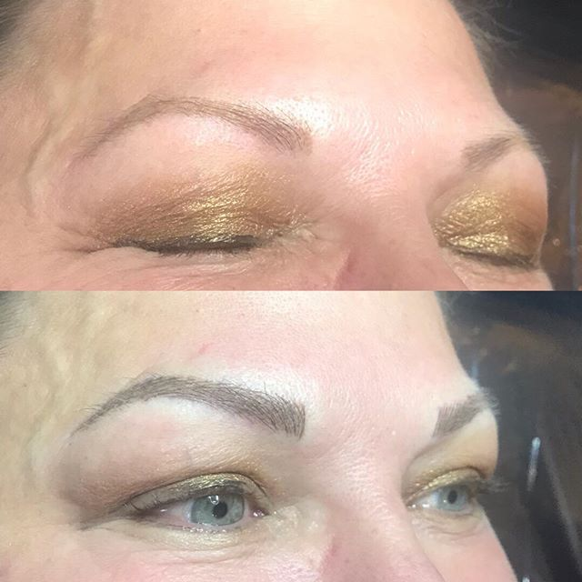 Retouch for her brows. We went darker and bolder. Chocolate eclair color from Softap with 16c needle. #softap #featheredbrows