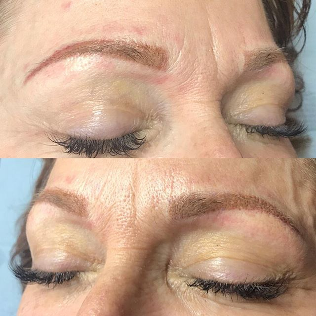 2 year retouch. Switched from microblading to powdered brow. The redness in the brow will reduce with healing. Used softap pigments, 3 needle with aura permanent makeup pen.