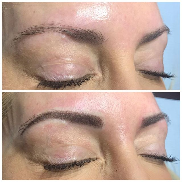 Powdered brow retouch. Nano needle, aura permanent makeup pen. #tinadaviesxpermablend #powderedbrow