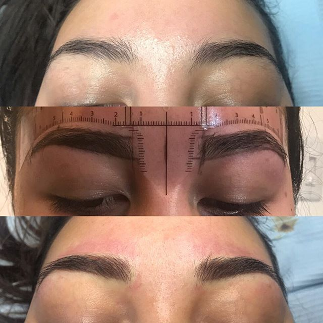 She had nice brows already but just wanted them filled in. Top is her natural brows, middle is drawing and bottom pic is the end result. #softappigments #nanoneedle #powderedbrows #aurapermanentmakeuppen