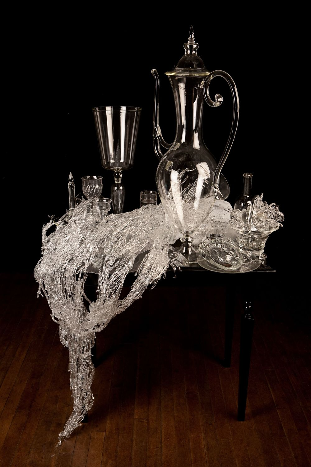 "Pitcher with Vine  , 2011, 63"" x 44"" x 30"", glass, wood, paint, adhesive, photo credit: Robb Quinn"