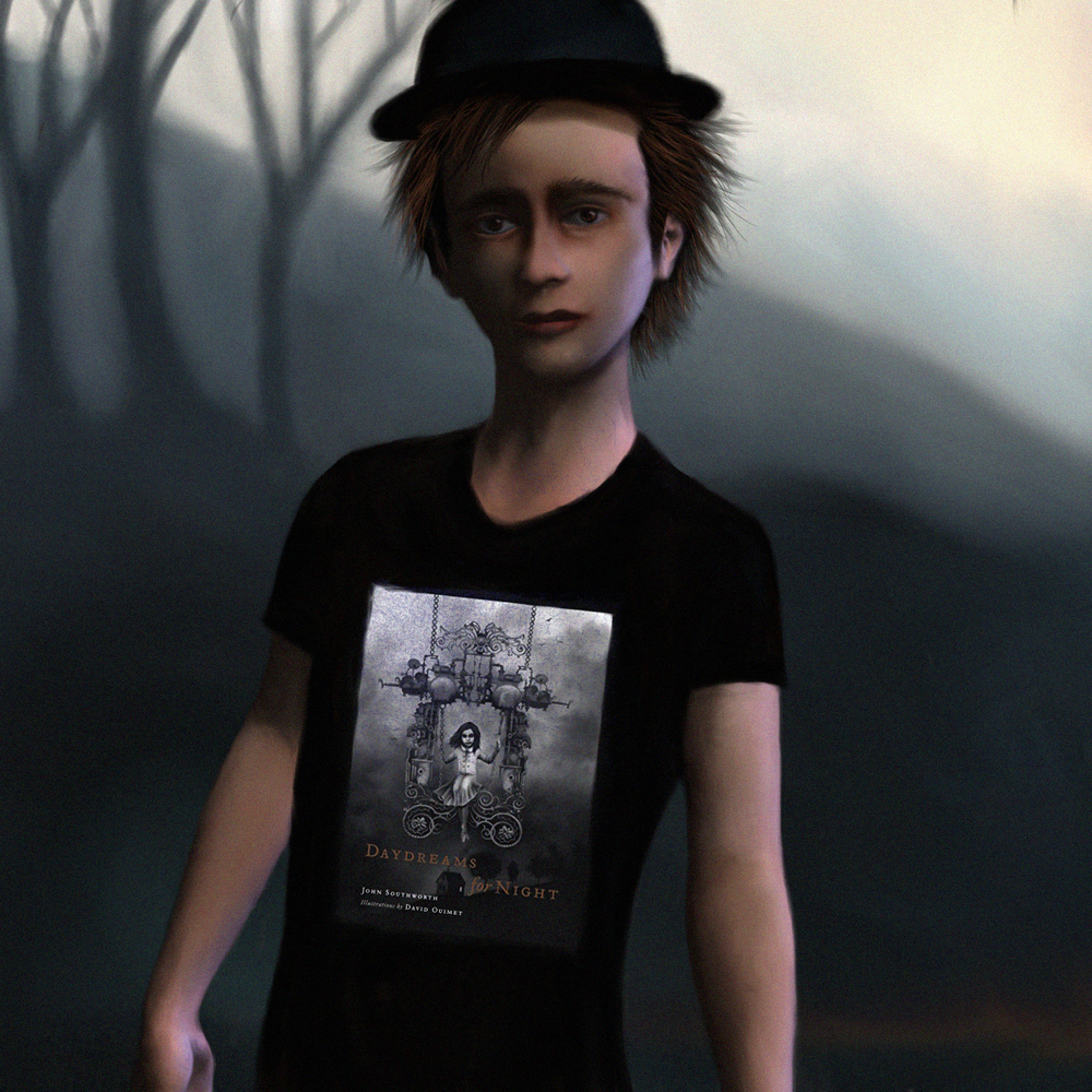 A young chimney sweeper displays a new shirt.