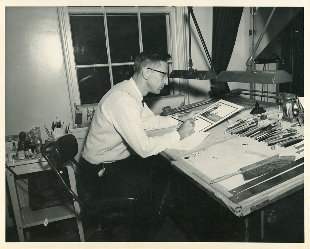 Dans grandpa (Larry Benson) working at the V.A. Hospital as a medical illustrator and calligrapher.