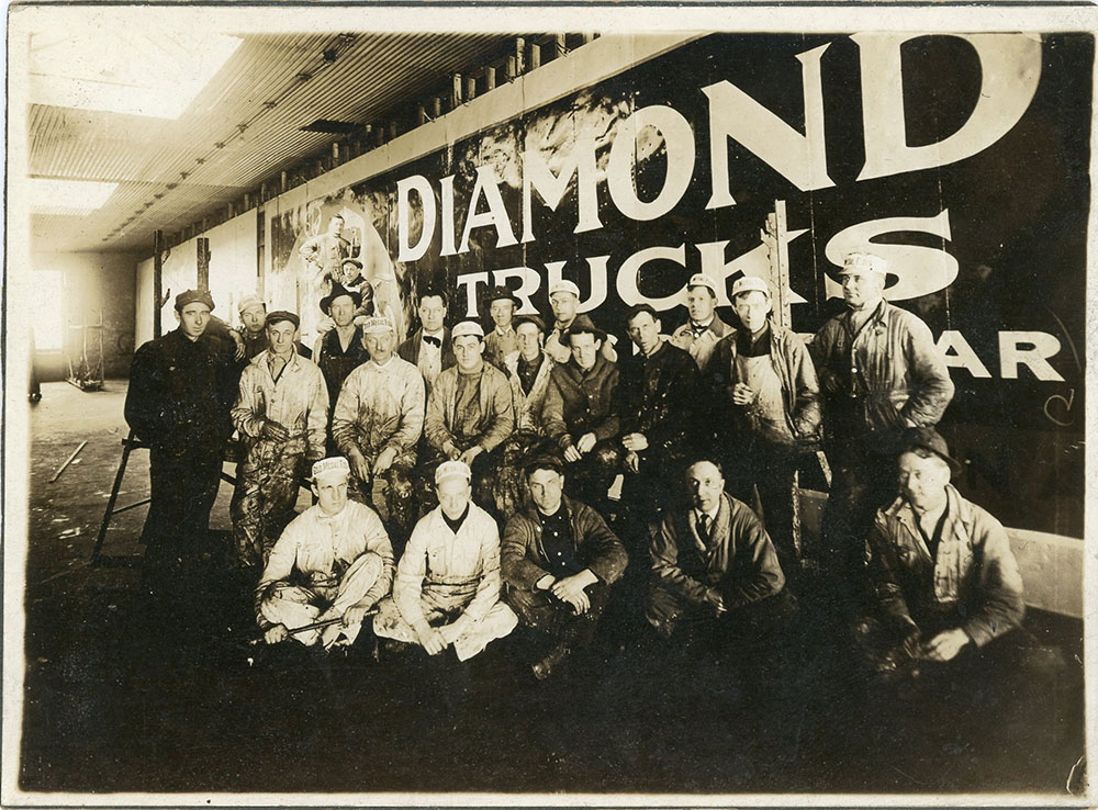 "Dans great Grandpa (Bernard Benson) with his team of sign painters at ""General Outdoor Advertising"". (located far right)"