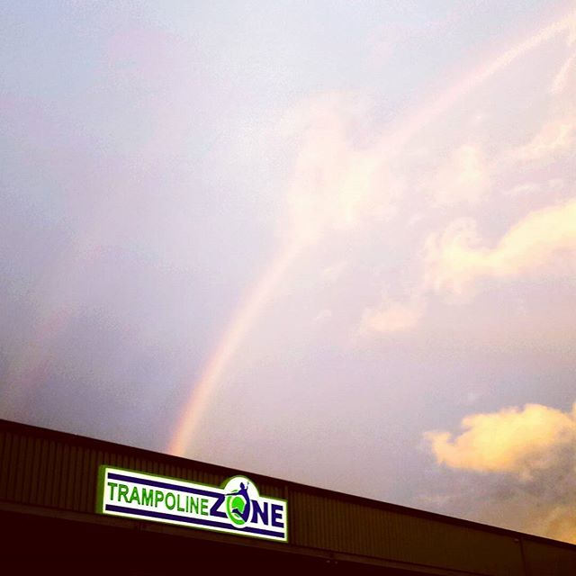 Rainbow at #trampolinezone after the storm tonight! 😎