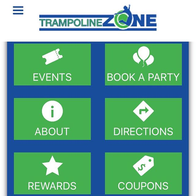 Hey guys! Don't forget about out mobile app!! You get weekly coupons to use Monday -Friday as well as points that you can redeem for free time or  a pair of Trampoline Zone grip socks!!