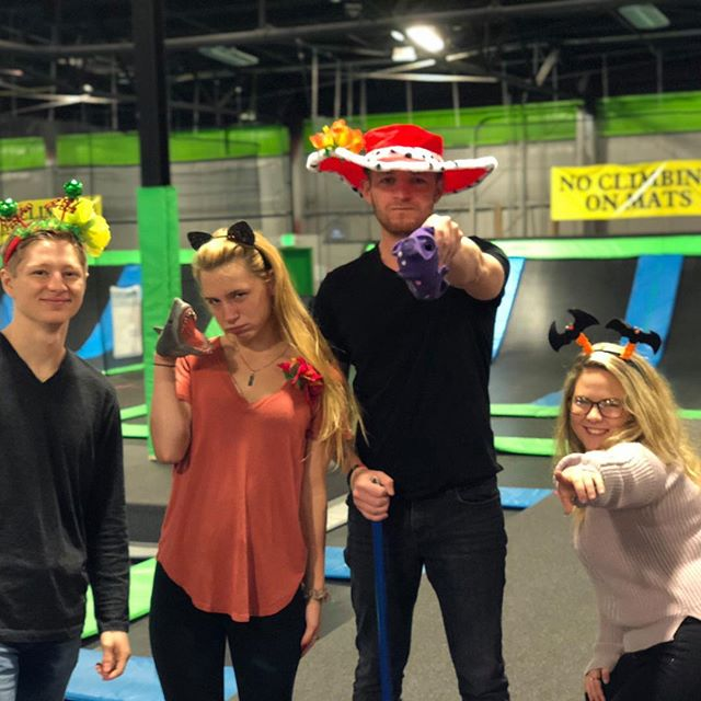 The management team over at trampoline zone are getting ready for Halloween!! What are you going to dress up as this year? #trampolinezone #halloween #jump #costumes
