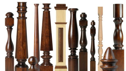 Various models of wooden balusters