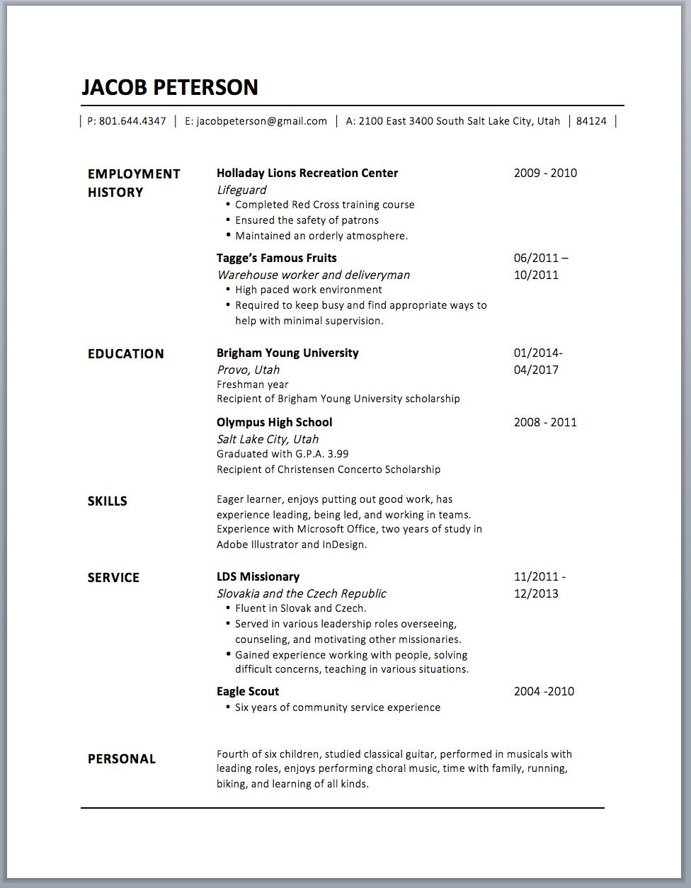 resume info