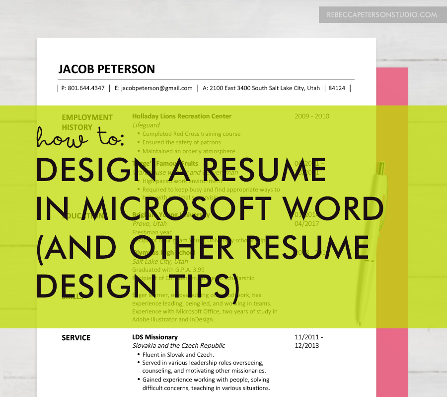 EASY resume design tips for non graphic designers! //rebeccapetersonstudio.com//