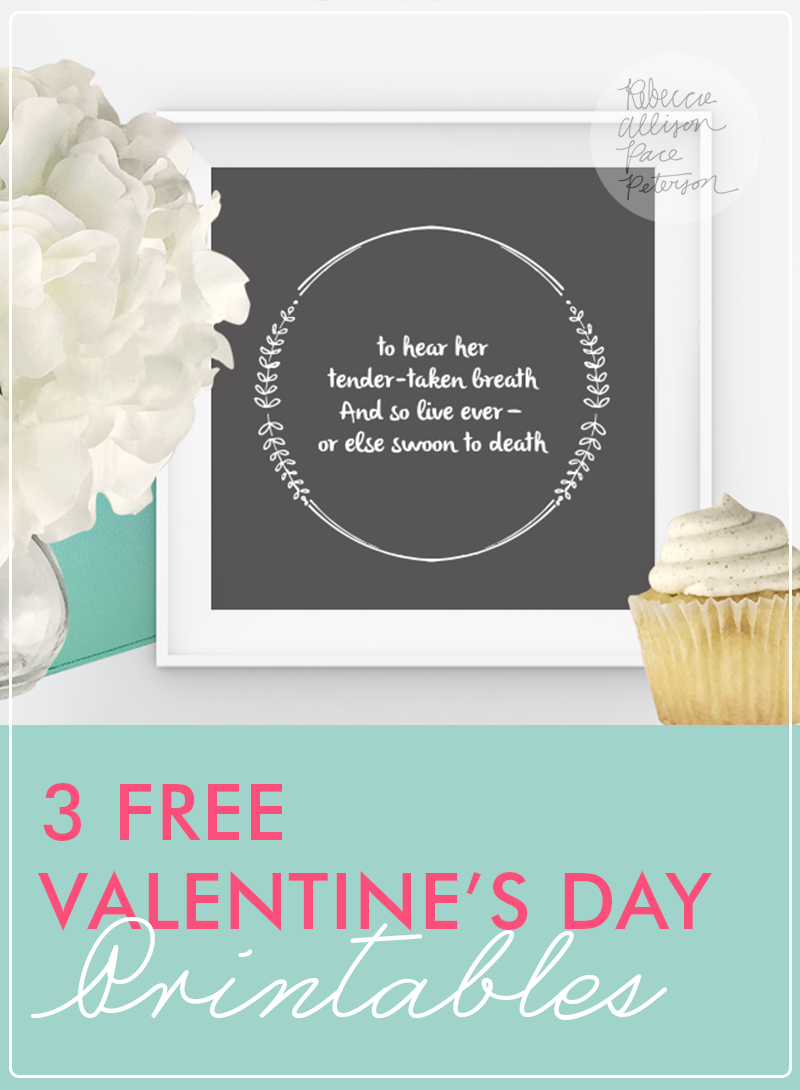 3 cute printables from Rebecca Peterson Studio (Just in time for Valentine's Day!)