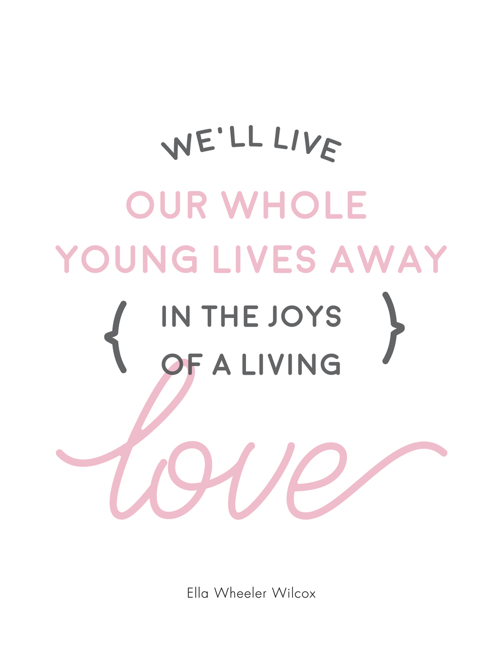 "Free printable from the poem, ""I love you"" by Ella Wheeler Wilcox"
