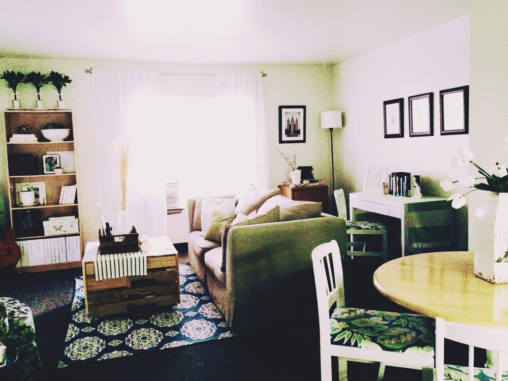 I tried to add lots of texture and layers in my living room with rugs, blankets, and baskets. Don't be afraid to do something untraditional!