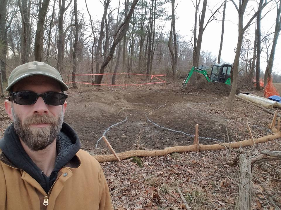 Kevin Ries of NativeScapes excavating the vernal pool!