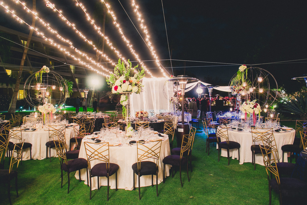 The finished starry night outdoor reception space.