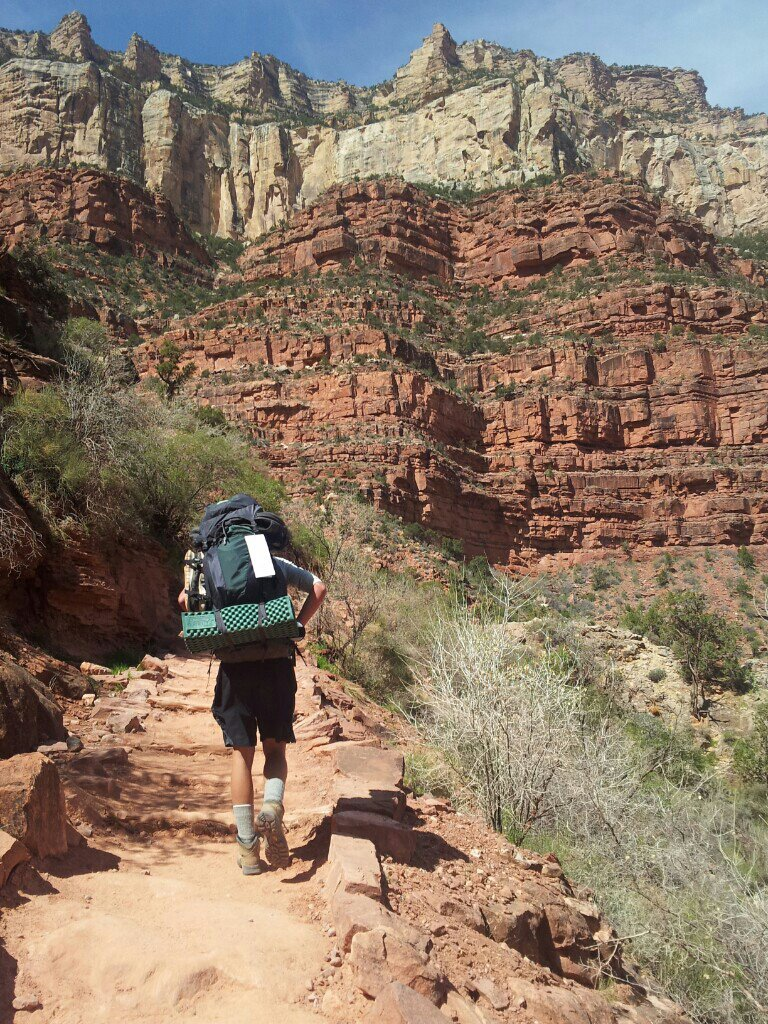 Facing the steep climb on the way up Bright Angel trail