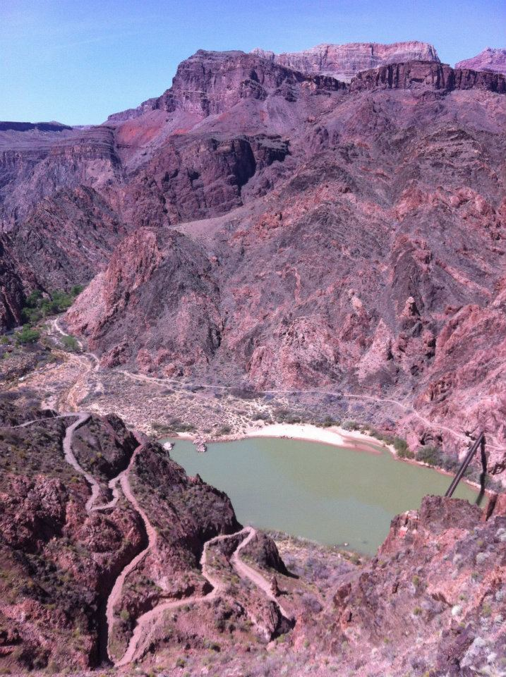 Our first view of the Colorado River. You can see the winding switchbacks descending