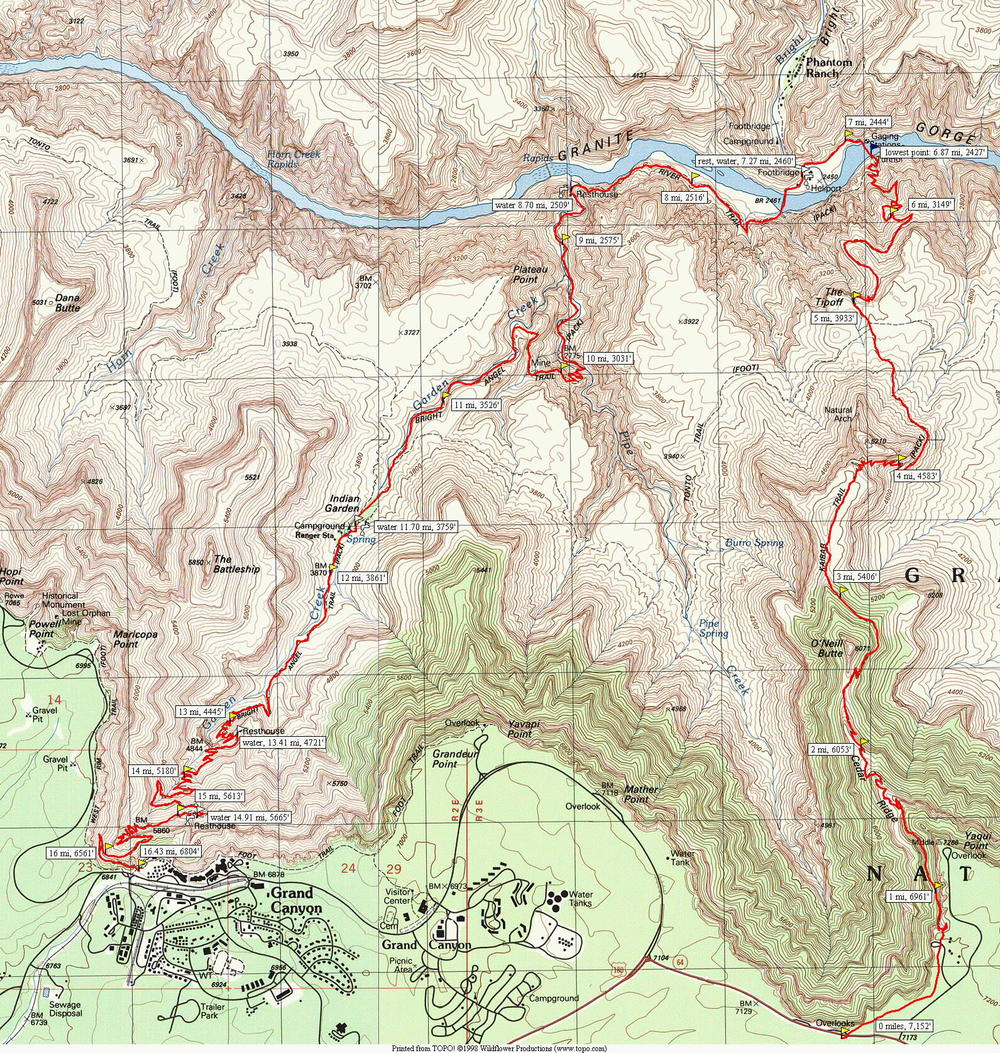 Trail map of S Kaibab to Bright Angel (missing Ribbon Falls). Photo from meetup.com