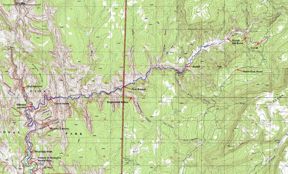 Orderville canyon hike trail map