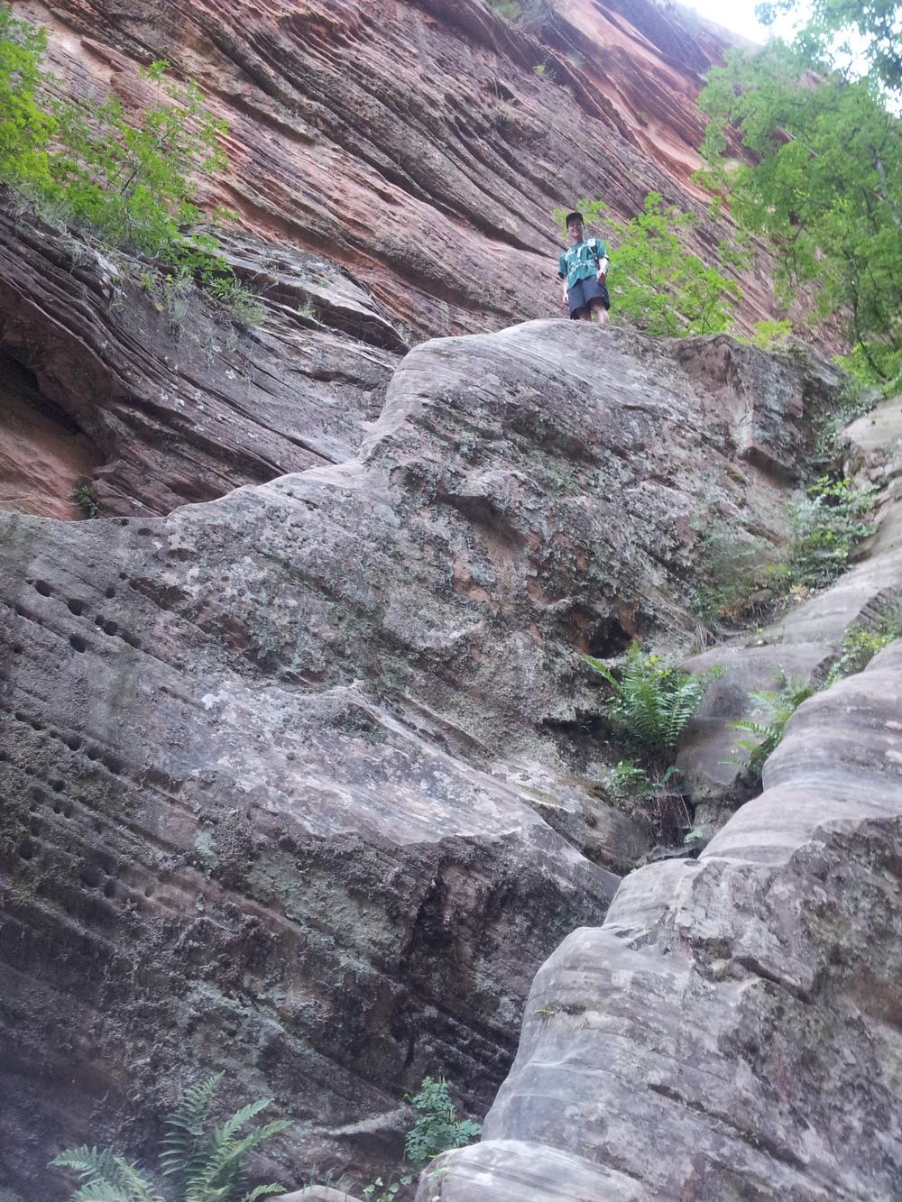 The ledge Clark climbed up onto