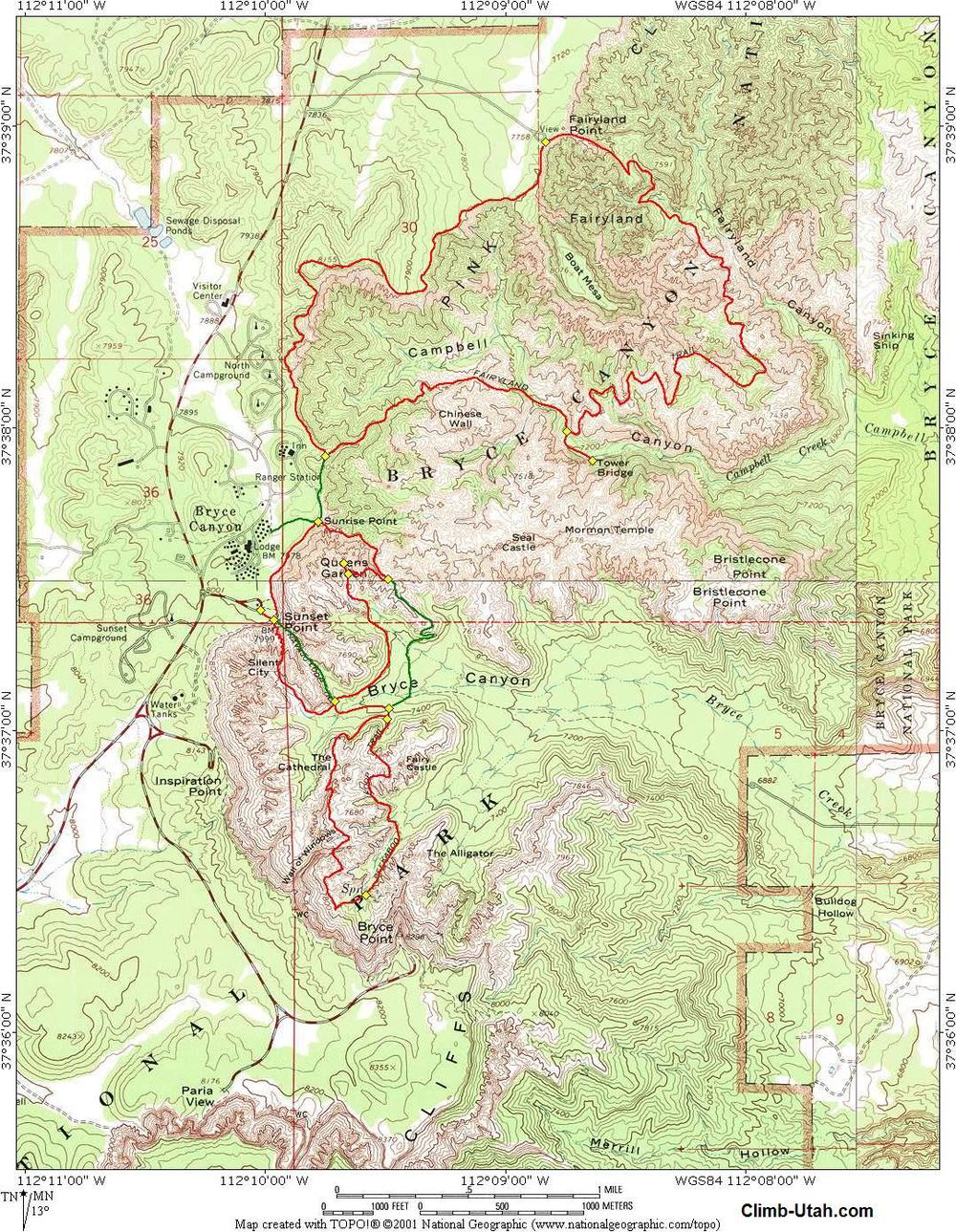 Trail map from climb-utah.com