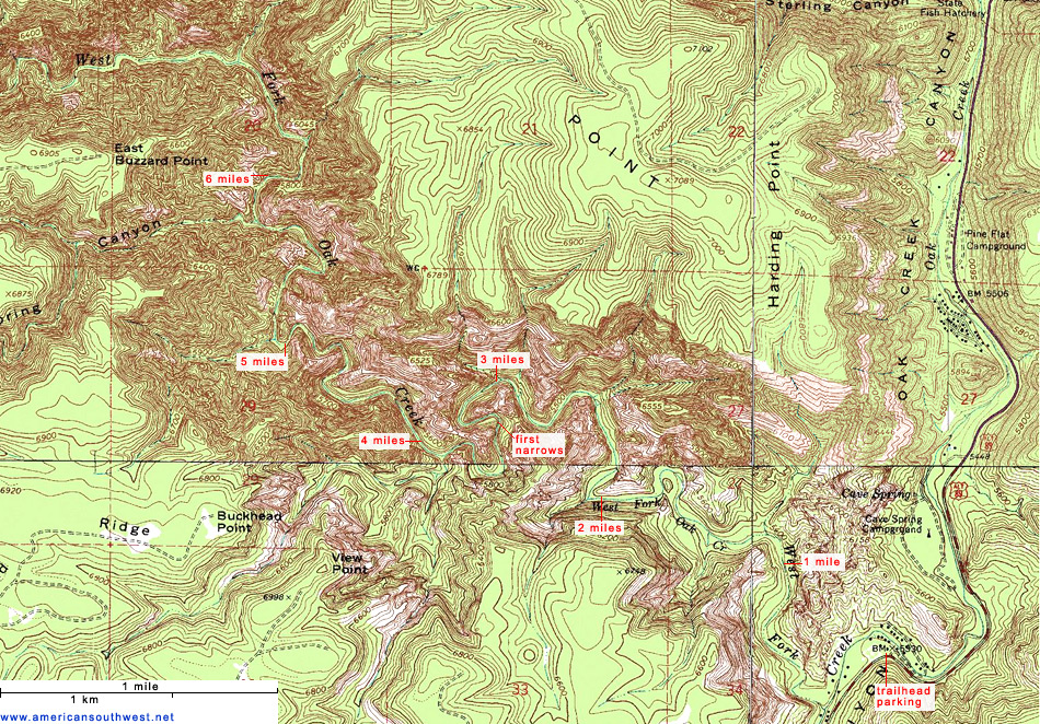 Trail map of the West Fork by americansouthwest.net
