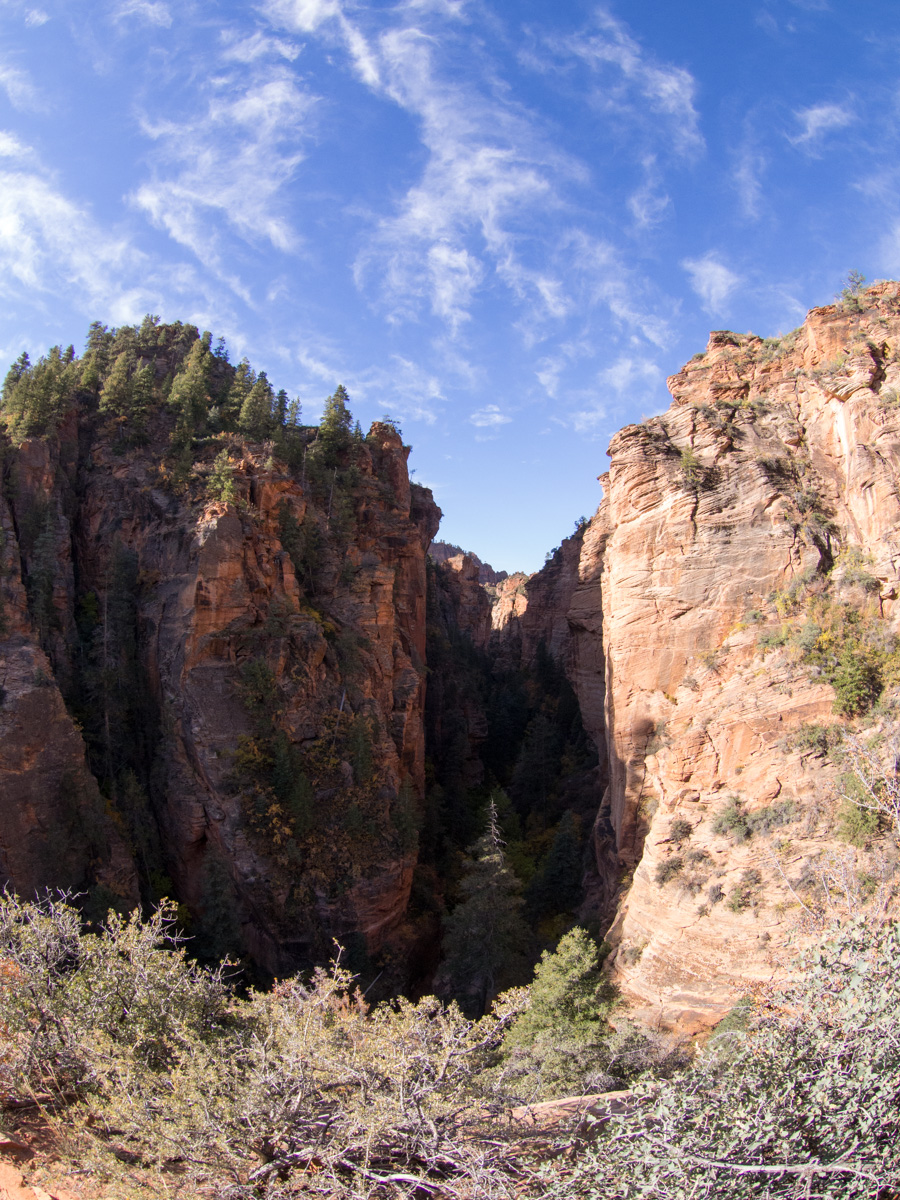 View of the canyon from above