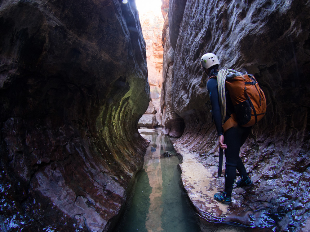 Looking down the subway tunnel at Zion national park