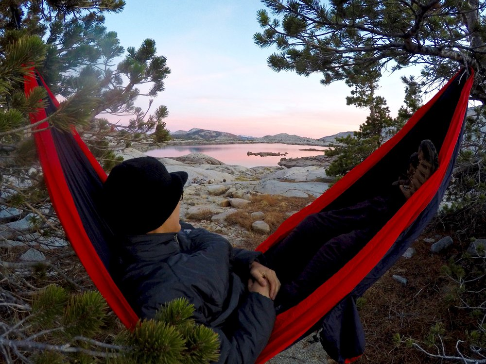 Enjoying a classic pink Sierran sunset from our hammock