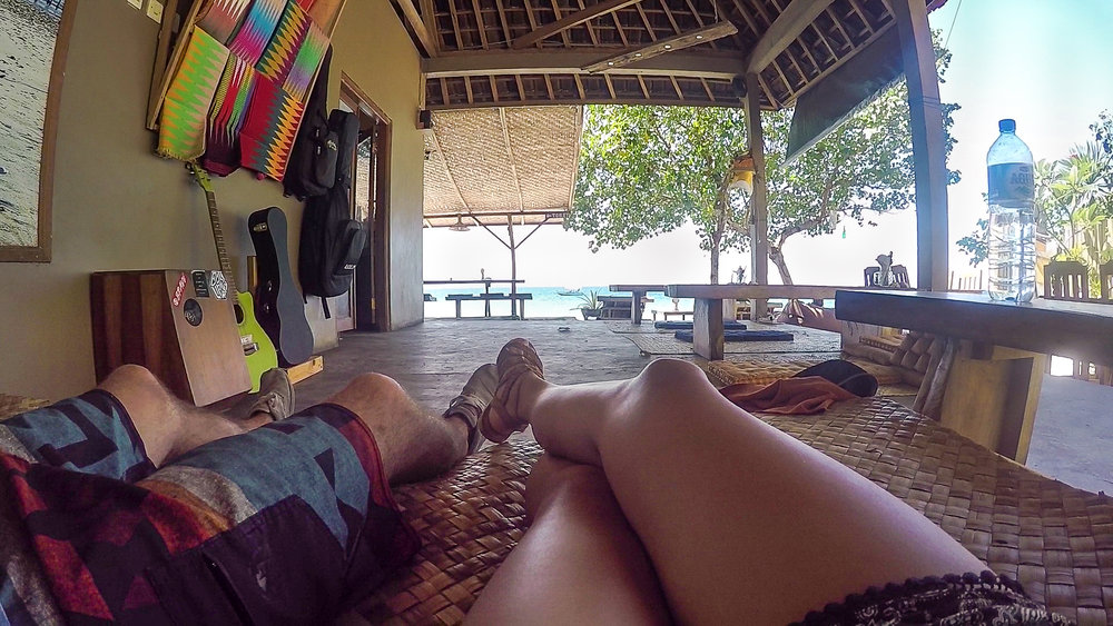 Taking a quick nap at Penida before our ferry