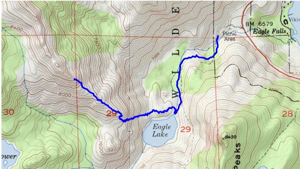 The route we took from the trailhead. The entire portion from Eagle Lake is all off-trail