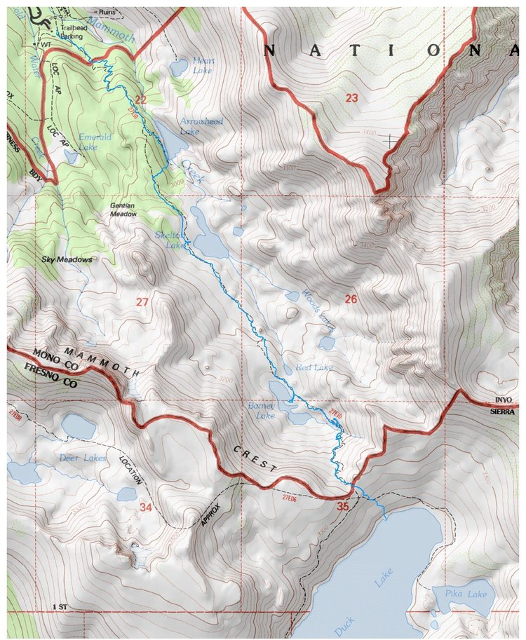 Backpacking Duck Lake Pass Trail Mammoth CA Backcountrycow - Duck lake map