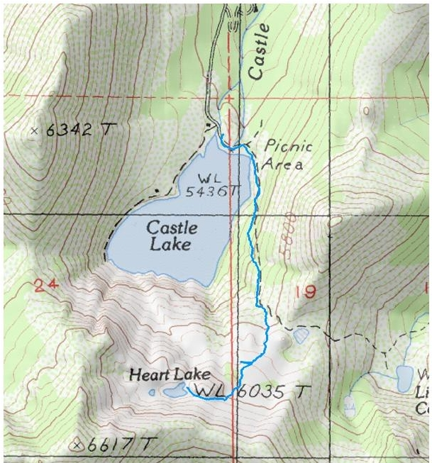 Trail map from the parking lot at Castle Lake up to Heart Lake