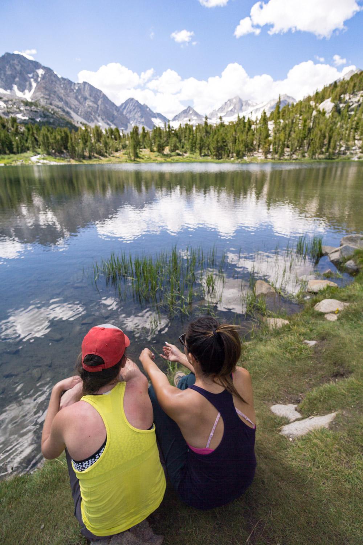 Taking a break at Heart Lake