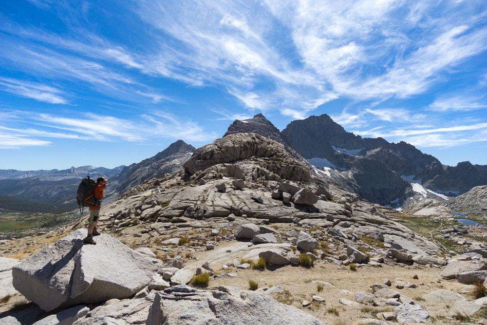 Hiking the high sierra trail over kaweah gap
