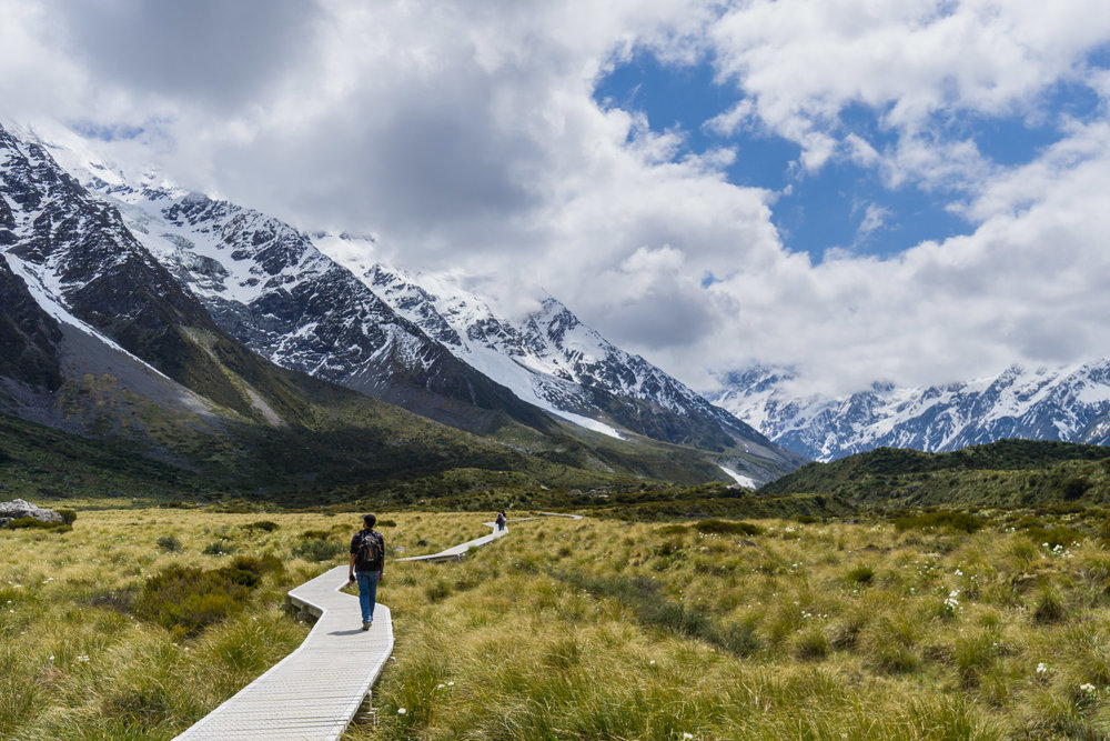 Heading up the iconic Hooker Valley boardwalk