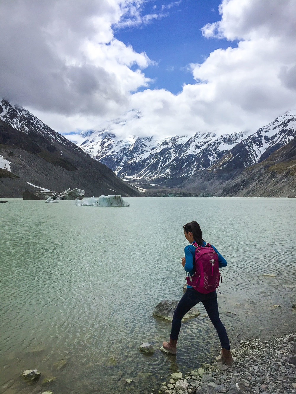 Hanging out at hooker lake and hooker glacier