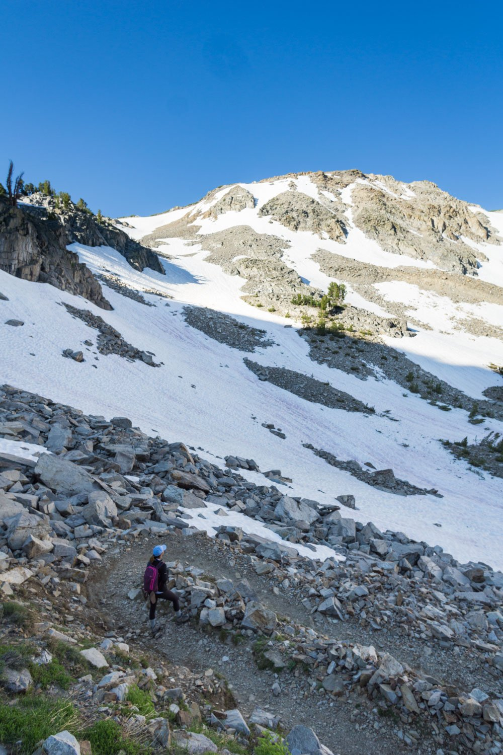 hiking up the switchbacks to duck pass