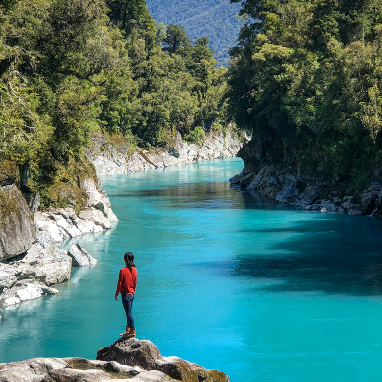 Intense blue water at Hokitika Gorge