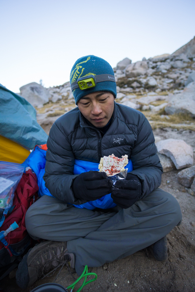 Fueling up before summiting Mt. Whitney