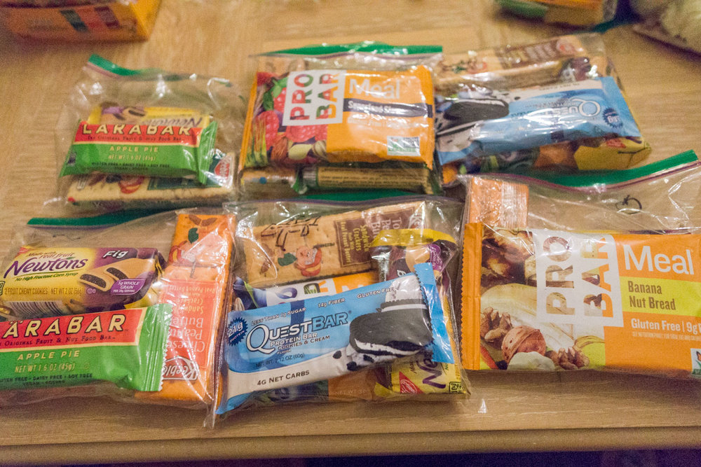 Trail snacks for each day, including the meal bars for lunch