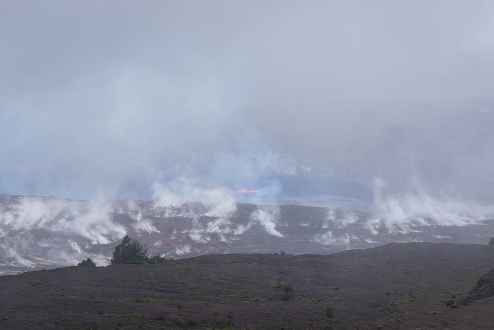 If you look closely in the center of the photo you can see the lava splashing up!