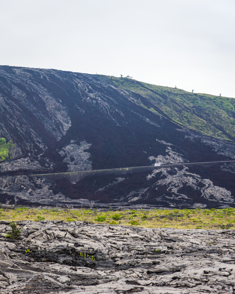 The path of the lava flow over the rim. Shuttle bus for scale!