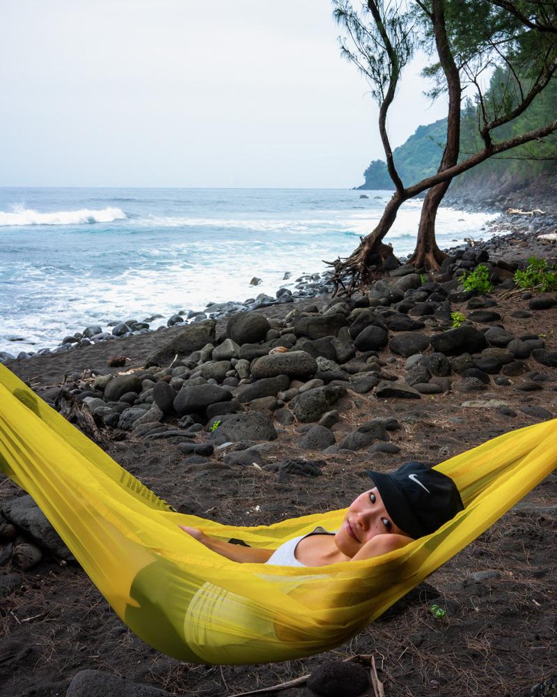 hammocking at the bottom of waipio valley