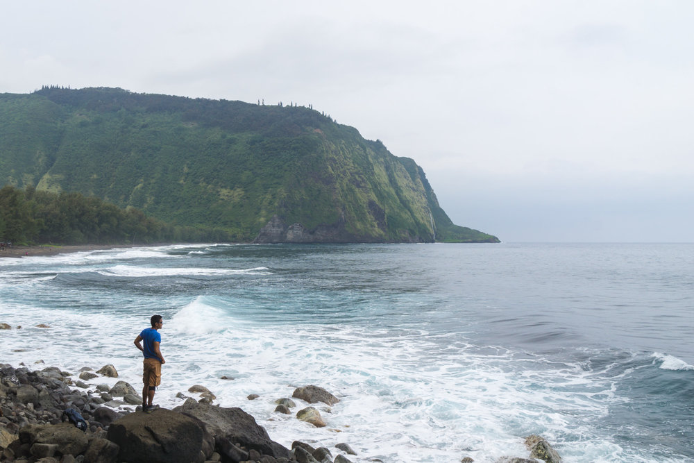 Admiring the coastal views from the bottom of Waipio Valley