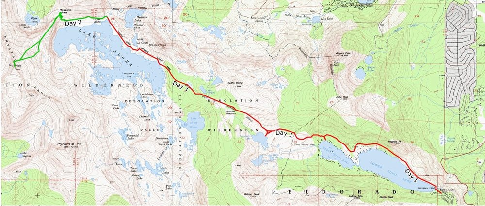 Our three day backpacking trip map from Echo Lakes to Mt. Price and back