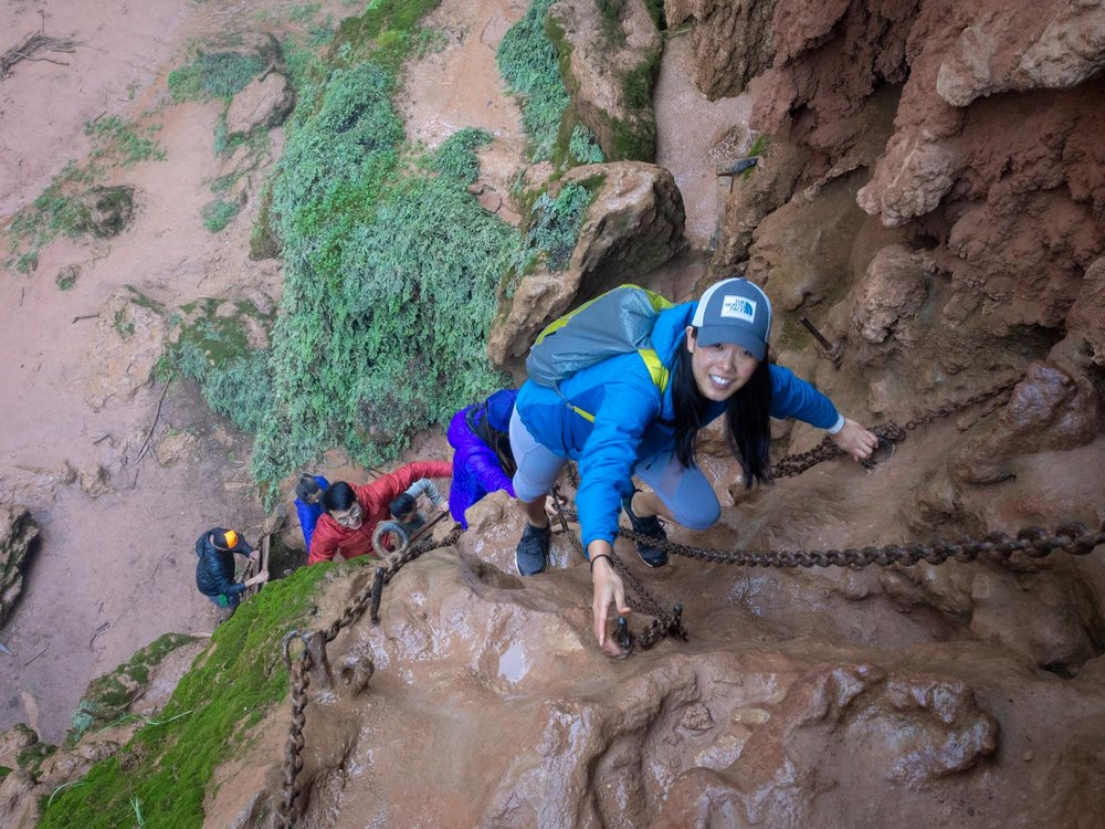 Climbing down the chains and slipper rock to get to the bottom