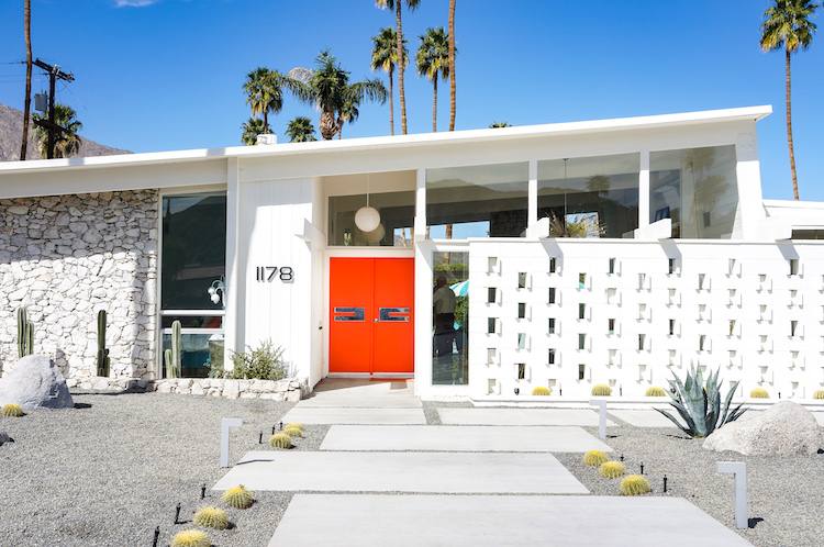 Mid century palm springs orange doors