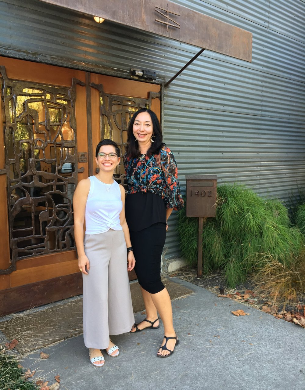 April Higashi (Gallery Owner/Jewelry Designer) and I catching up during my visit at the gallery.