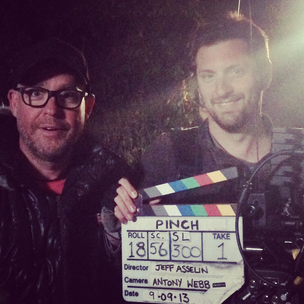 Pictured: Dir Jeffory Asselin and DOP Antony Webb on set